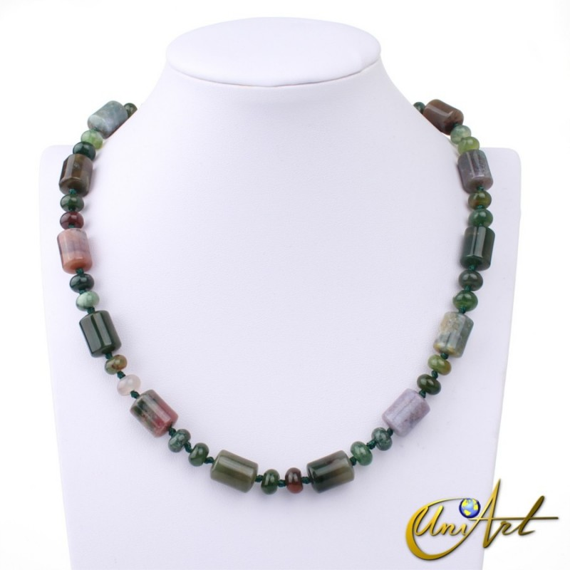 Indian agate necklace - cylindrical beads