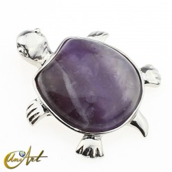 tiger eye or amethyst turtle pendant