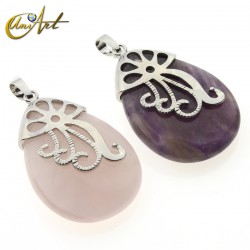 Amethyst or rose quartz teardrop pendant