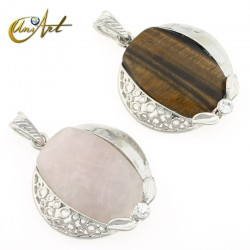 Rose quartz or tiger eye - omega pendant