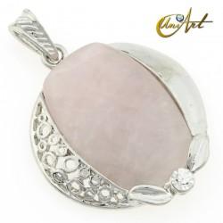 Rose quartz or tiger eye - omega pendant