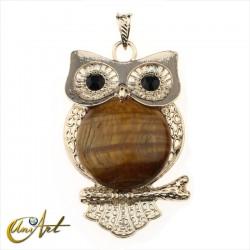 Tiger eye owl pendant