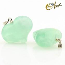 Heart pendant Valentin model of  green fluorite