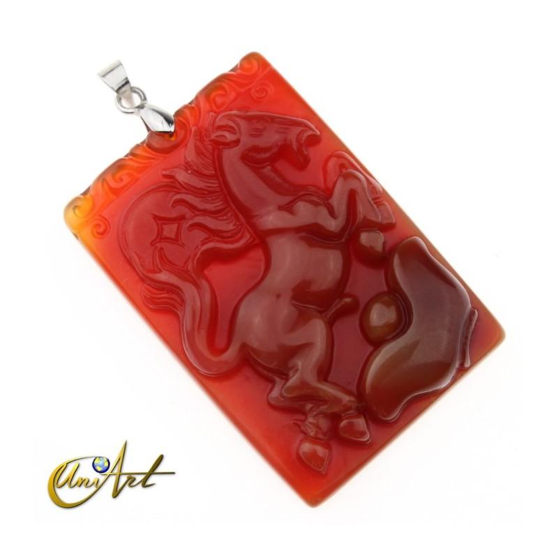 horse carnelian pendant