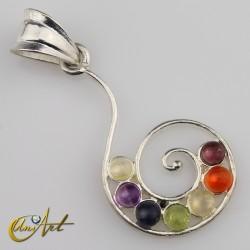 Seven stones chakras pendant , spiral