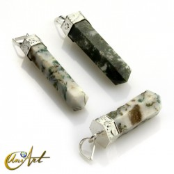 6 fact Pencil point pendants of tree agate