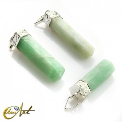6 fact Pencil point pendants of amazonite