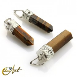 6 fact Pencil point pendants of tiger eye