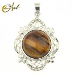 Round gothic tiger eye pendant