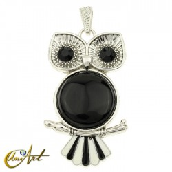 Owl, pendant with onyx