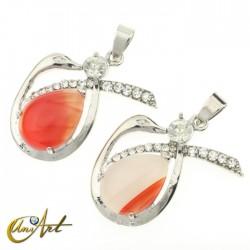 Swan red agate pendant