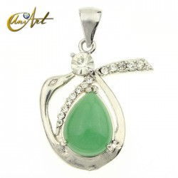 Swan green aventurine pendant