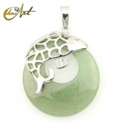 Fish pendant with green aventurine donut