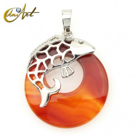 Fish pendant with carnelian donut