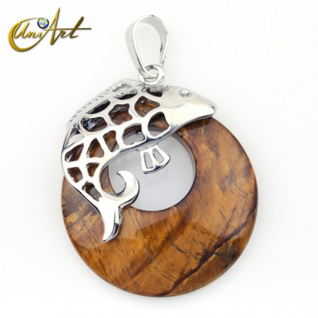 Fish pendant with tiger eye donut