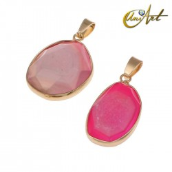 Faceted drusy pink agate pendant