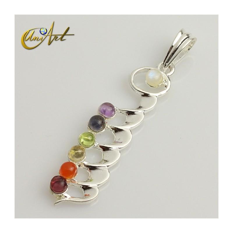 Seven stones chakras pendant, Kundalini