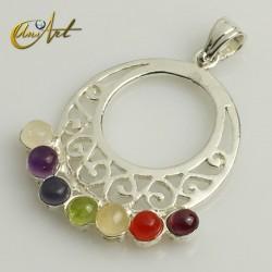 Seven chakras stones pendant, circular