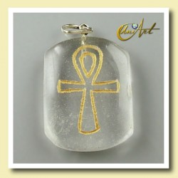 Colgante grabado con Ankh (Cruz Egipcia) - cuarzo cristal