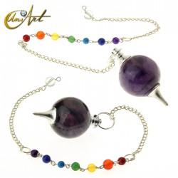 Péndulo bola con cadena de los chakras - amatista