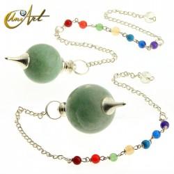 Péndulo bola con cadena de los chakras - aventurina verde
