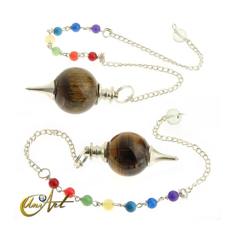 Péndulo bola con cadena de los chakras - ojo de tigre