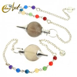 Ball pendulums with chakras chain -  smoky quartz