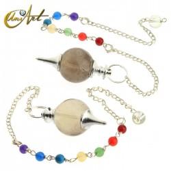 Péndulo bola con cadena de los chakras - cuarzo ahumado