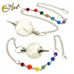 Péndulo bola con cadena de los chakras - cuarzo cristal
