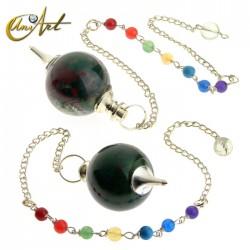 Péndulo bola con cadena de los chakras - jaspe sanguíneo