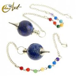 Péndulo bola con cadena de los chakras - lapislázuli