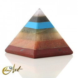 Pyramid with the stones of the chakras
