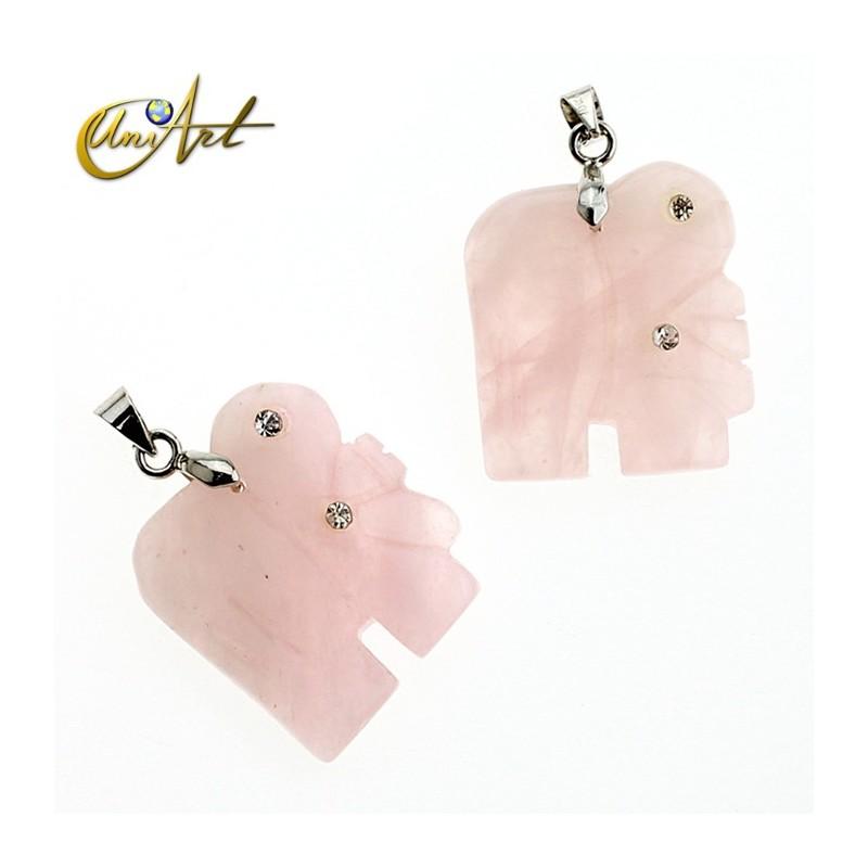 Colgante Elefante con circonitas - cuarzo rosa