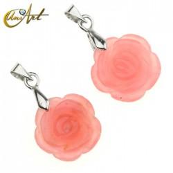Rose shape carved small pendant - jade