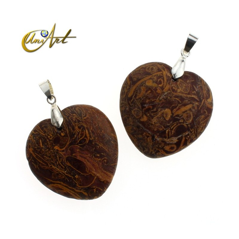 Heart-shaped coquina jasper pendant