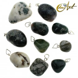 Tumbled stone pendant of agates - 10 units