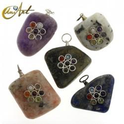 Tumbled stone Chakras pendant