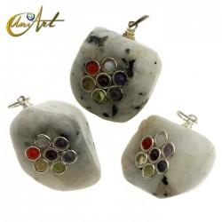 Colgante de los chakras - rodados - Piedra Luna