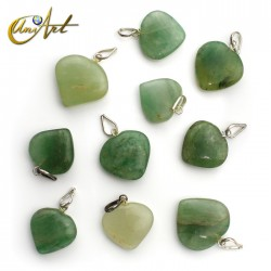 Lot of 10 gemstone heart pendants