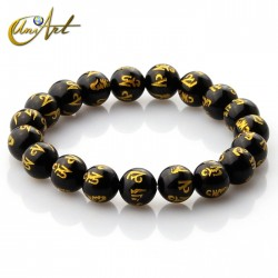 Black Agate mantra bracelet 10 mm