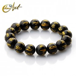 Black Agate mantra bracelet 12 mm