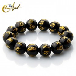 Black Agate mantra bracelet 14 mm