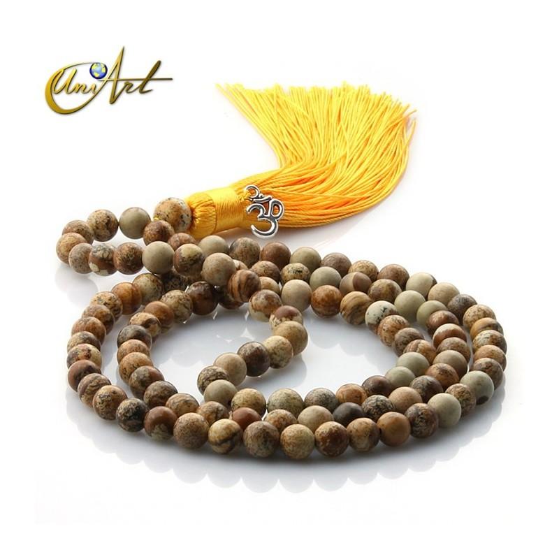 Jasper Tibetan Buddhist Mala in 8 mm beads - Paisina
