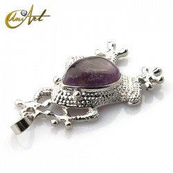 Frog pendant with Amethyst