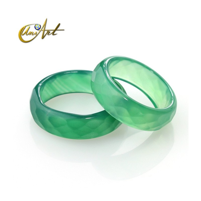 Faceted Green Agate Ring