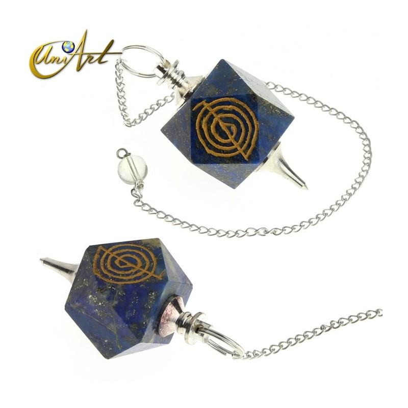 Pendulum with Engraved Reiki Symbol - polyhedral shape - Lapis lazuli