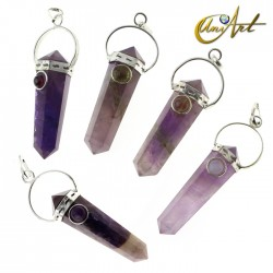 Amethyst double-ended tip pendant with natural stone