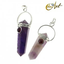 Amethyst double-ended tip pendant with natural stone - Garnet