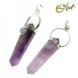 Amethyst double-ended tip pendant with natural stone - Moonstone