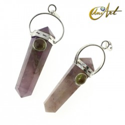 Amethyst double-ended tip pendant with natural stone - Periodot